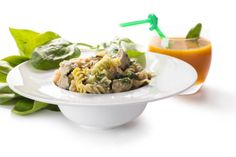 color pasta with spinach and carrot juice