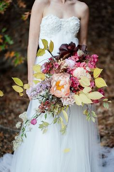 Fall inspired bridal look with an off white soft flowy dress, red head bride and hues of deep red and orange! Floral Wedding, Wedding Bouquets, Wedding Flowers, Woodland Wedding, Autumn Wedding, Pink Winter Weddings, Trailing Bouquet, Outdoor Wedding Inspiration, Wedding Scene