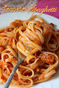 YUMMY TUMMY: Spaghetti with Tomato Sauce Recipe / Tomato Spaghetti Recipe