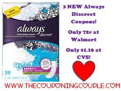 3 NEW High Value Always Discreet Coupons + Walmart and CVS Scenarios going on NOW Click the link below to get all of the details ► http://www.thecouponingcouple.com/3-new-always-discreet-coupons/  #Coupons #Couponing #CouponCommunity  Visit us at http://www.thecouponingcouple.com for more great posts!