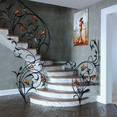 Modern Stair Railing, Stair Railing Design, Iron Stair Railing, Wrought Iron Stairs, Wrought Iron Decor, Railings, Railing Ideas, House Arch Design, Home Room Design