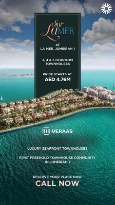 Sur La Mer is the first freehold townhouse community in the coastal residential area of Jumeirah. This luxurious waterfront development consists of and 5 bedroom townhouses with awe-inspiring views of Downtown skyline and the Sea. Real Estate Advertising, Real Estate Ads, Real Estate Branding, Creative Advertising, Advertising Design, Real Estate Marketing, Graphic Design Layouts, Brochure Design, Layout Design