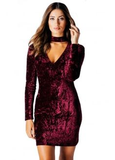WINE CRUSHED VELVET CHOKER V-NECK BODYCON DRESS