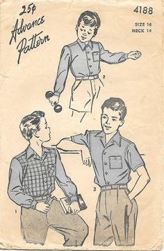 Advance 4188 - 1940s Boys Teens Shirt Sewing Pattern, offered on Etsy by GrandmaMadeWithLove