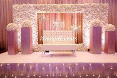 Champagne Wedding Decorations And Inspirations with Chandeliers & White Flower Wall Reception Stage Decor, Wedding Backdrop Design, Wedding Stage Design, Wedding Reception Backdrop, Wedding Mandap, Wedding Receptions, Wedding Table, Wedding Ideas, Engagement Stage Decoration
