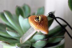Golden mushroom eye / Necklace/pendant / Natural Quartz Crystal / Handmade #Handmade