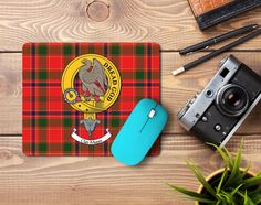 Rubber mousemat with Munro clan crest and tartan - only from ScotClans
