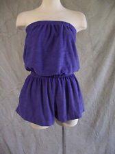 fdc8cc124a Vintage 80s Strapless Tobe Top Purple Terrycloth Playsuit Romper Festival  Medium