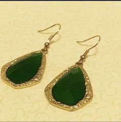 Emerald Green and Gold Statement Earrings // Baylor Bears! Perfect!