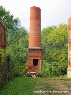 The remnants of a smokestack at the long-vacant Gebhard Brewery in Morris, Illinois.