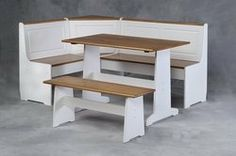 """Ardmore Pine Nook Dining Table Set in White & Natural Finish by Linon Home Decor Products. $472.43. Some assembly may be required. Please see product details.. Dimension: 65""""W x 48""""D x 33.5""""H Finish: White/ Natural Finish Material: Solid Pine, MDF, CA Foam, Microfiber Seat Ardmore Pine Nook Dining Table Set in White and Natural Finish Ardmore Corner Nook Set. Nestled in a corner of your kitchen this nook set is the perfect spot for meals or family gatherings. T..."""