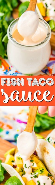 This Fish Taco Sauce is the ultimate topping for fish tacos. It's a creamy a delicious blend of sour cream, mayonnaise, lime juice, sriracha, garlic, and cumin.