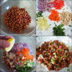 This is a healthy chaat. which can be consume as salad and even as snack. Indian Salads, Indian Snacks, Indian Food Recipes, Indian Drinks, Puri Recipes, Vegetarian Snacks, Healthy Snacks, Healthy Recipes, Spicy Recipes