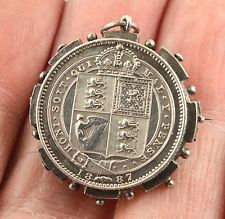 Antique Victorian 1887 sterling silver one shilling coin brooch pin