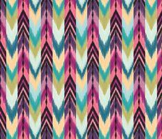 """Rainbow Arrows"" colorful tribal ikat fabric by Bohemian Gypsy Jane on Spoonflower."