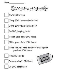 100th day movement activities