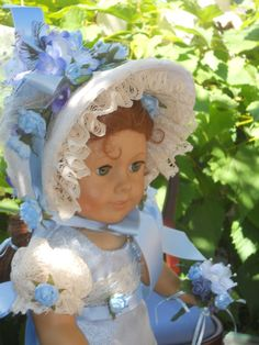 Regency Easter Blue Bonnet and Gown for by GrandmaBdesigns on Etsy