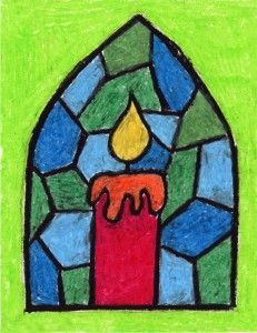 Stained Glass Candle Drawing If you need a Christmas drawing idea for kids, this oil pastel candle drawing works for many different religions. Christmas Art For Kids, Christmas Art Projects, Winter Art Projects, Christmas Drawing, Christmas Candle, Candle Art, Glass Candle, Glass Art, Candle Drawing