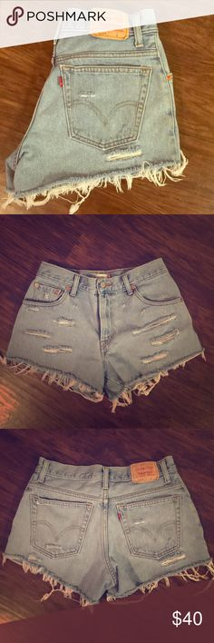 Vintage high waisted levi shorts Super cute light wash destroyed high waisted Levi's! Perfect for summer Levi's Shorts Jean Shorts