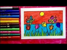 Welcome to my channel🌻🌻🌻 My channel is mainly for kids.here they learn how to draw , they also learn about colours. This one is a series o. Easy Art For Kids, Easy Drawings For Kids, Drawing For Kids, Oil Pastel Drawings, My Drawings, Learning Colors, Kids Learning, Easy Butterfly Drawing, Color Art Lessons