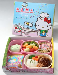 Hello Kitty Airlines Food. Why does food cut into bite sized pieces always look so much taster?