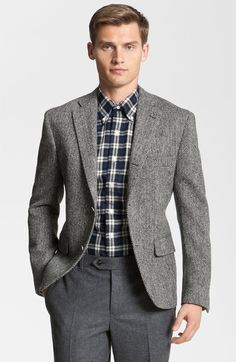 Universal Works Grey Harris Tweed Suit Blazer by Universal Works ...