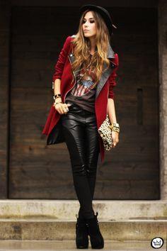 burgundy coat!