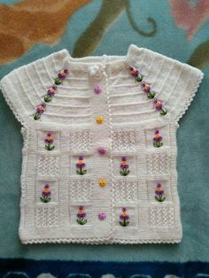 Embroidered-Tunisia-child-vests – TC Arzu Parlak – Join in the world of pin Baby Bolero, Baby Vest, Baby Cardigan, Summer Cardigan, Baby Knitting Patterns, Knitting Designs, Knitting Projects, Hand Knitting, Crochet Patterns
