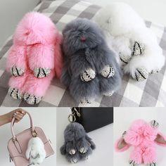 Real Rabbit Fur PomPom Crystal Hand Bag Charm Accessory Key Ring Holder Chain   #Jacc