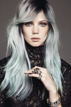 black and pastel hair - Google Search