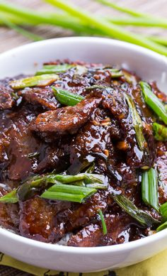 Mongolian Beef (PF Changs copycat). So easy to make and tastes even better than the real thing!
