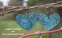 Leather Earrings Hearts by ReRideStories on Etsy