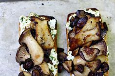 Herbed cheese crostini topped with roasted porcini mushrooms