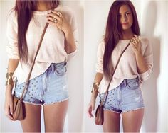 i just bought my first high waisted shorts. this is a cute way to wear them.