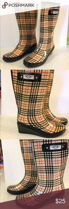 """FY (Forever Young) women's rain boots FY women's rain boots, size 11, color: beige, red, black. 2"""" heel, 13"""" total height. Like new condition FY Shoes Winter & Rain Boots"""