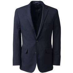 Lands' End Men's Tailored Fit Year'rounder Wool Suit Jacket ($170) ❤ liked on Polyvore featuring men's fashion, men's clothing, men's outerwear, men's jackets, men, men's suits, blue, mens wool outerwear, mens blue jacket and mens jackets