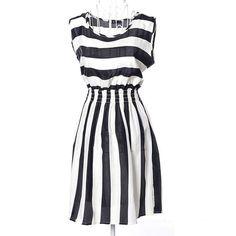 Dress New Brand 2015 Summer Women dress Casual Print Sleeveless Chiffon stripe  #none #ALine #Casual