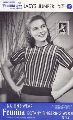 Great vintage ladies stripe jumper knitting pattern from 1940s