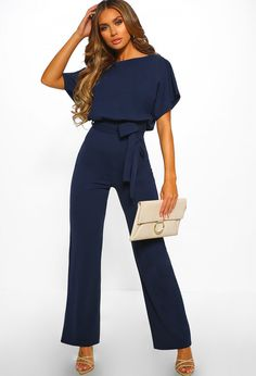 10183facd3fc Oh So Glam Navy Belted Wide Leg Jumpsuit