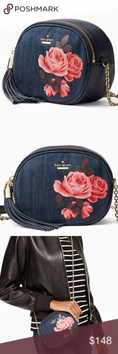 🎀NEW🎀Kate Spade Rose Denim Tinley 🎀KATE SPADE🎀Rose Denim Tinley   Make this your super cute go-to bag!  Dark denim with 14karat gold plated hardware.  Comes with dustbag❌no trading or holding. 🎀MY PRICE IS FIRM AND IM NOT TAKING OFFERS🎀 kate spade Bags Crossbody Bags