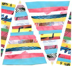 I love triangle flags like this. Cute for a birthday party!  Easy to make from brightly patterned paper.