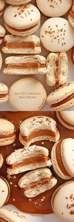 Absolutely irresistible are these salted caramel macarons. A smooth, luxurious caramel filling sandwiched between macarons makes for a perf. Just Desserts, Delicious Desserts, Yummy Food, Macarons Easy, Making Macarons, Macaron Filling, Cookie Recipes, Dessert Recipes, Macaroon Cookies