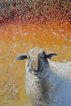Pearl sky, oil painting of sheep