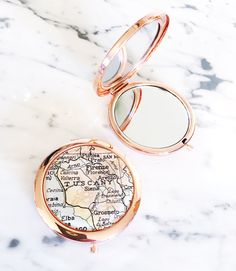 Rose Gold Vintage Tuscany Map Mirror Compact  Wanderlust