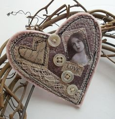 Large Textile Heart Brooch £12.00