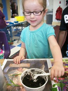 Students have been busy at KinderCare's Summer Camp. This student learns about perfecting a habitat for worms. #preschool #scienceproject #gardening #kindergarten