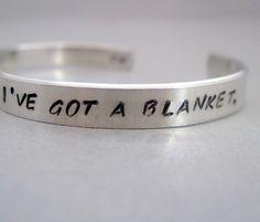 2-Sided Sherlock Inspired Bracelet - I've Got a Blanket - Hand Stamped Aluminum Cuff - customizable. $14.50, via Etsy.