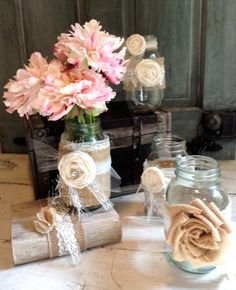 Cream and Natural Burlap Table Decor Set of 5 by BurlapandLinenCo, $40.00