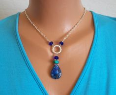 Lapis Necklace Bali Silver Crystal Chain Blue MYSTIC via Etsy