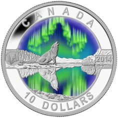Coins for sale including Royal Canadian Mint products, Canadian, Polish, American, and world coins and banknotes. Mint Coins, Silver Coins, Wolf Colors, Canadian Coins, Wolf Painting, See The Northern Lights, O Canada, Coins For Sale, Ethereal Beauty